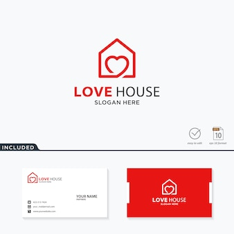 Design de logotipo de casa de amor