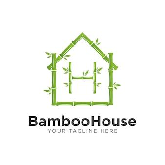 Design de logotipo de casa de bambu verde, com a letra h bambu