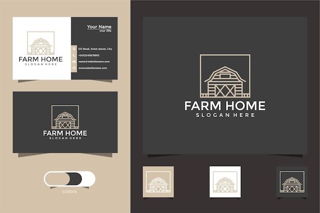 Design de logotipo de casa de fazenda com estilo de linha e cartão de visita