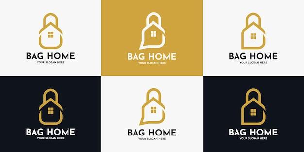 Design de logotipo de casa de sacola, logotipo de inspiração para loja de móveis e produtos de interior