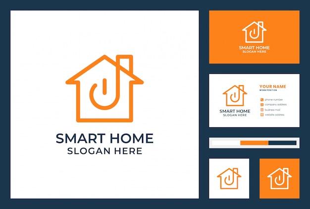 Design de logotipo de casa inteligente com cartão de visita