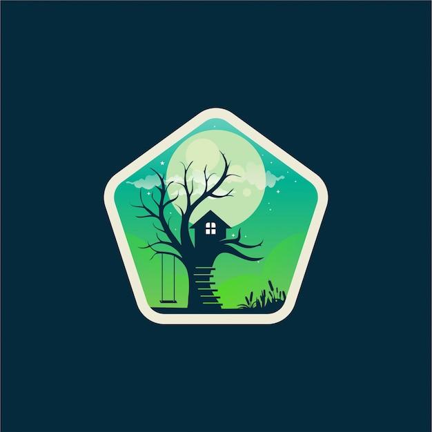 Design de logotipo de casa na árvore