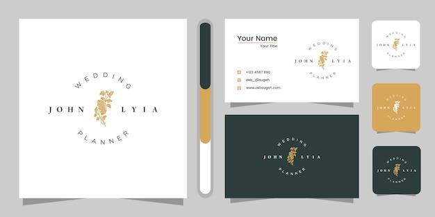 Design de logotipo de casamento e cartão de visita.
