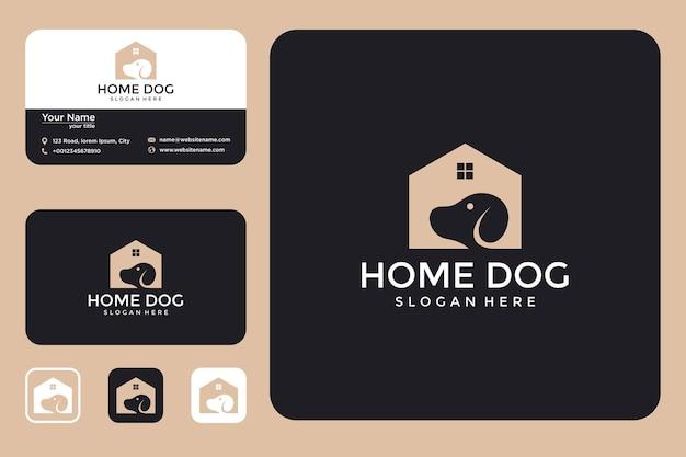 Design de logotipo de casinha de cachorro e cartão de visita