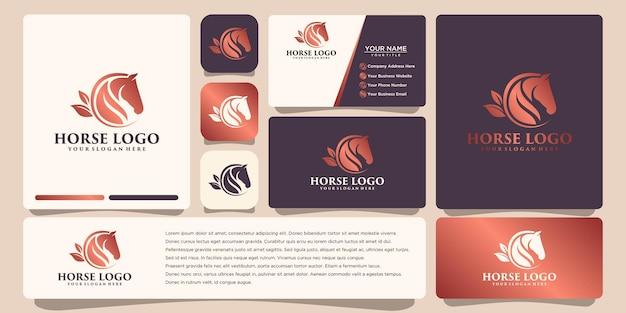 Design de logotipo de cavalo com modelo de cartão de visita
