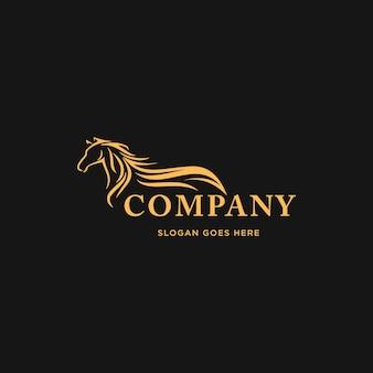 Design de logotipo de cavalo de alta velocidade logotipo de contorno minimalista isolado em fundo preto