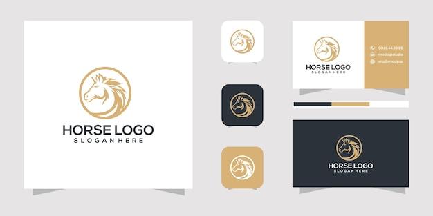 Design de logotipo de cavalo e modelo de cartão de visita