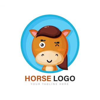 Design de logotipo de cavalo fofo