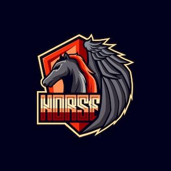 Design de logotipo de cavalo voador
