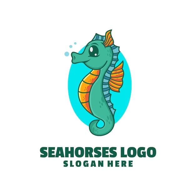 Design de logotipo de cavalos-marinhos