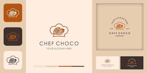 Design de logotipo de chapéu de chef chocolate e cartão de visita