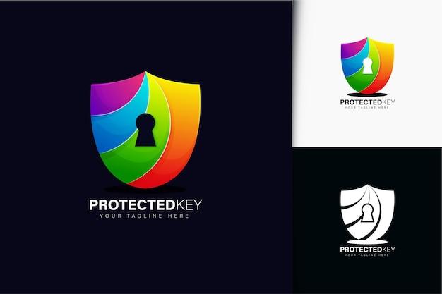 Design de logotipo de chave protegido com gradiente