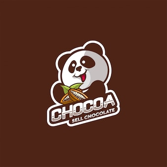 Design de logotipo de chocolate panda