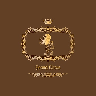 Design de logotipo de circo com moldura vintage