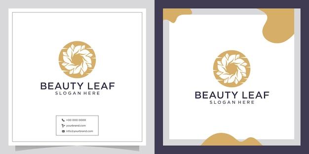 Design de logotipo de círculo de beleza de folha natural