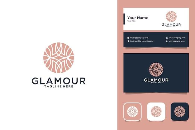 Design de logotipo de círculo de planta de luxo e cartão de visita
