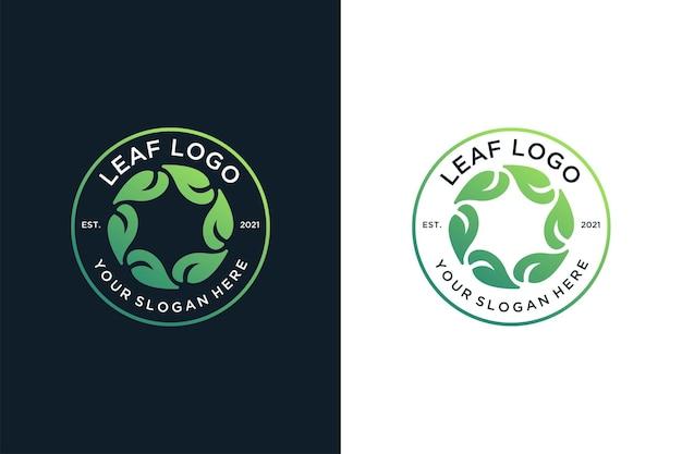 Design de logotipo de círculo vintage de folha verde