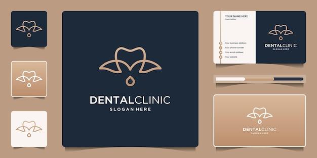 Design de logotipo de clínica dentária com folha e gota de design de logotipo com cartão de visita.