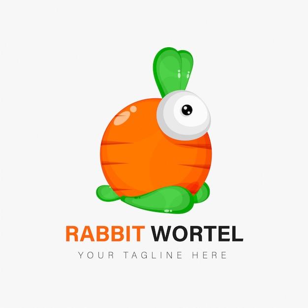 Design de logotipo de coelho e cenoura