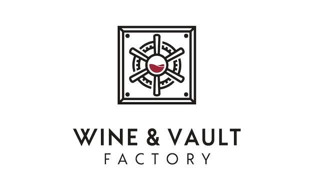 Design de logotipo de cofre de vinho / fábrica
