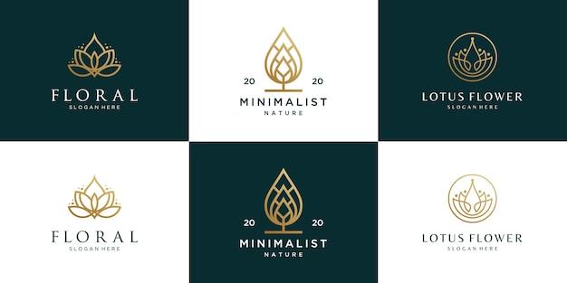 Design de logotipo de coleção de flores