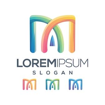 Design de logotipo de coleção de gradiente de letra m