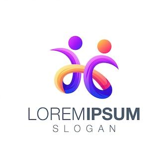 Design de logotipo de coleção gradiente de pessoas