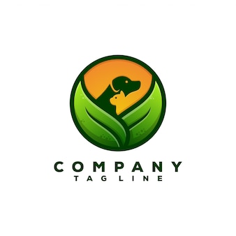 Design de logotipo de comida de animais de natureza