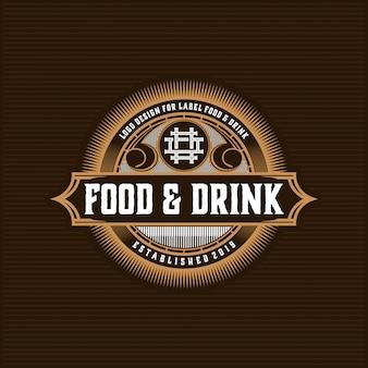 Design de logotipo de comida e bebida para produto e restaurante