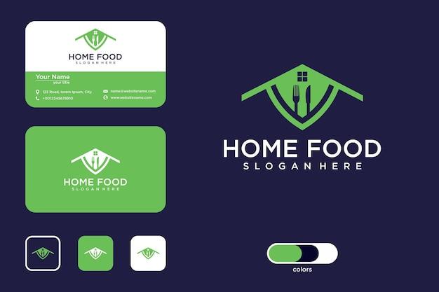 Design de logotipo de comida em casa e cartão de visita