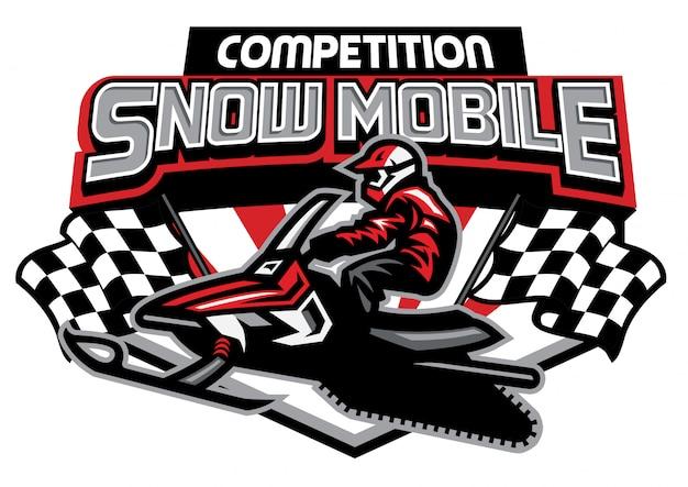 Design de logotipo de competição de moto de neve