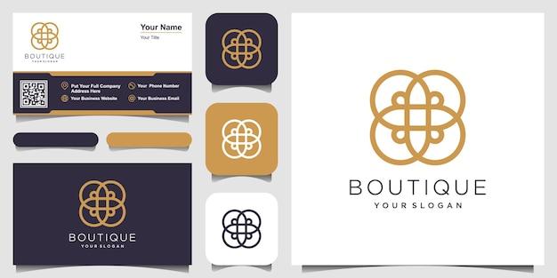 Design de logotipo de conceito de círculo de ornamento com estilo de arte de linha