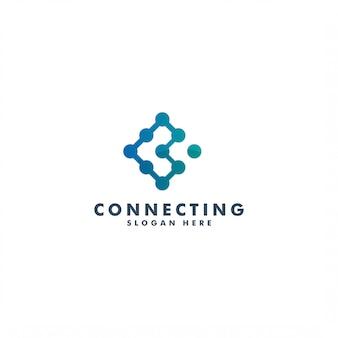 Design de logotipo de conexão, modelo de ícone de letra c