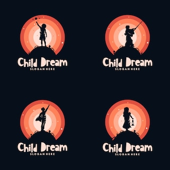 Design de logotipo de conjunto de crianças alcançam os sonhos