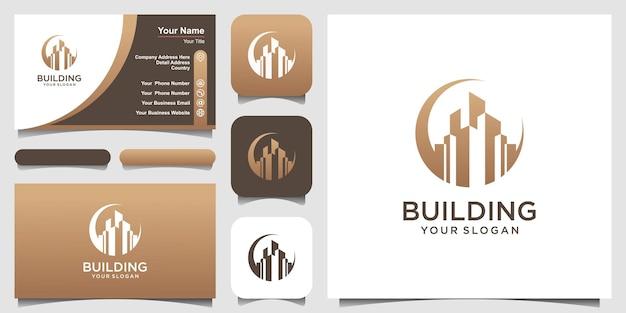 Design de logotipo de construção de edifícios comerciais inspiração.