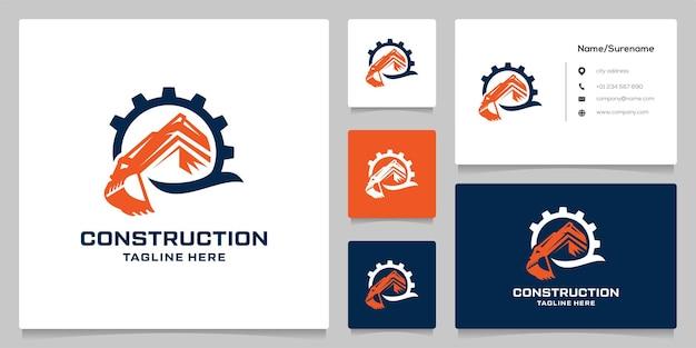 Design de logotipo de construção de engrenagens de escavadeira