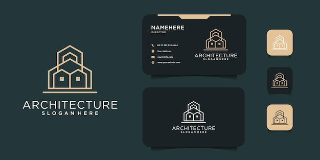 Design de logotipo de construção de imóveis mínimos com modelo de cartão. o logotipo pode ser usado como ícone, marca, inspiração e propósito da empresa