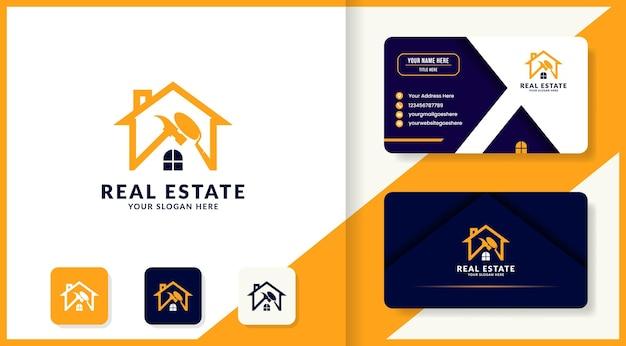 Design de logotipo de construção e cartão de visita