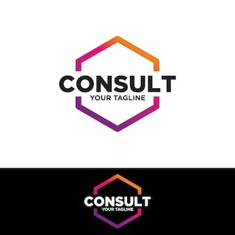 Design de logotipo de consultoria poligonal, consultar logotipo, ícone de tecnologia