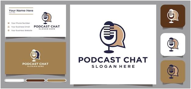 Design de logotipo de conversa de podcast design de logotipo de conversa por microfone de podcast logotipo de rádio usando microfone