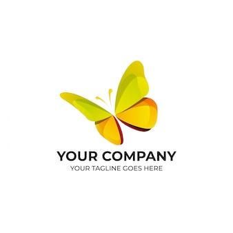 Design de logotipo de cor borboleta