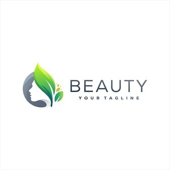 Design de logotipo de cor gradiente de beleza