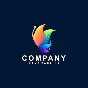 Design de logotipo de cor gradiente de borboleta