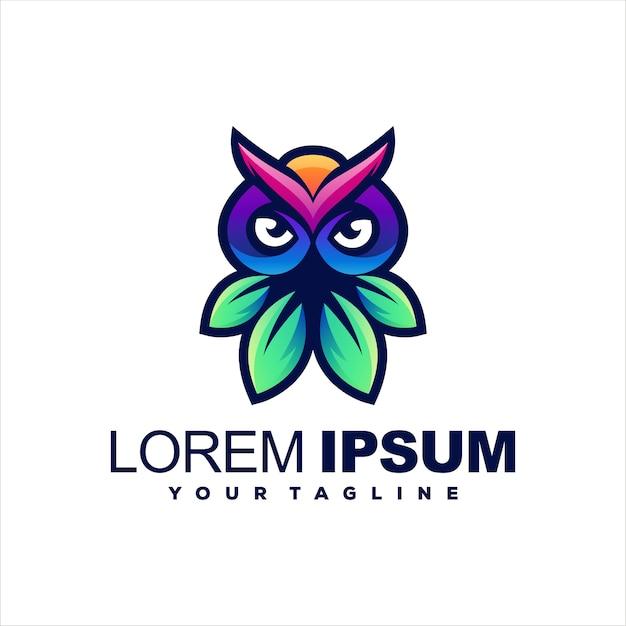 Design de logotipo de cor gradiente de coruja