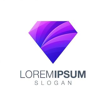 Design de logotipo de cor gradiente de diamante