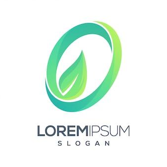 Design de logotipo de cor gradiente de folha