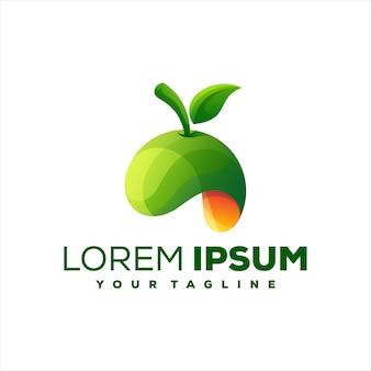 Design de logotipo de cor gradiente de frutas