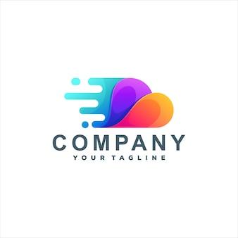 Design de logotipo de cor gradiente de nuvem