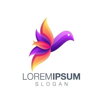 Design de logotipo de cor gradiente de pássaro