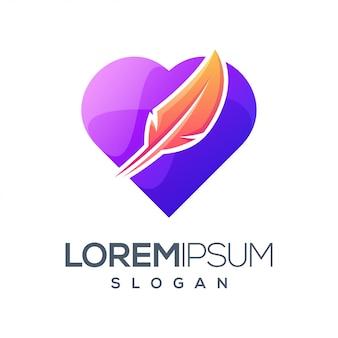 Design de logotipo de cor gradiente de penas de amor